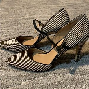 Banana Republic striped calfskin heels